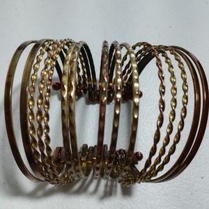 Vintage 15 Bangles 1 Cuff Bracelet